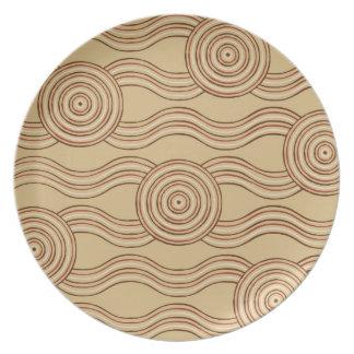 Aboriginal art earth dinner plate