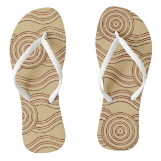 Aboriginal art earth flip flops