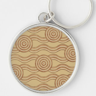 Aboriginal art earth Silver-Colored round keychain