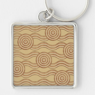 Aboriginal art earth Silver-Colored square keychain