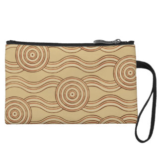 Aboriginal art earth wristlet purse