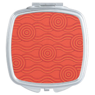 Aboriginal art fire compact mirror