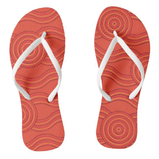 Aboriginal art fire flip flops