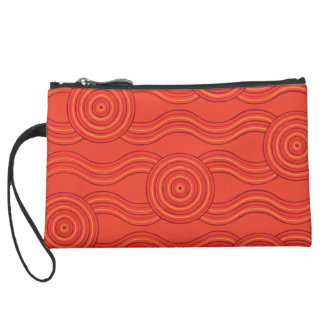 Aboriginal art fire wristlet purse