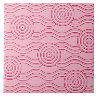 Aboriginal art gumnut blossoms tile