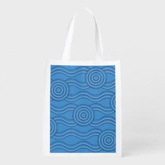 Aboriginal art ocean reusable grocery bag