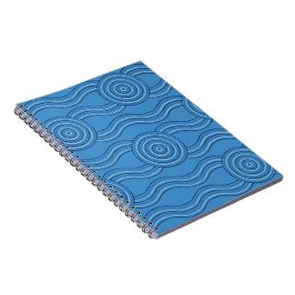 Aboriginal art ocean spiral notebook