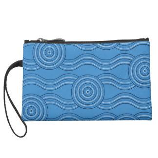 Aboriginal art ocean suede wristlet