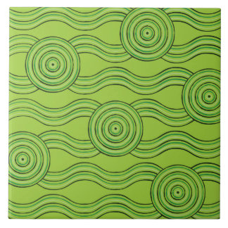 Aboriginal art rainforest ceramic tile