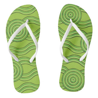 Aboriginal art rainforest flip flops