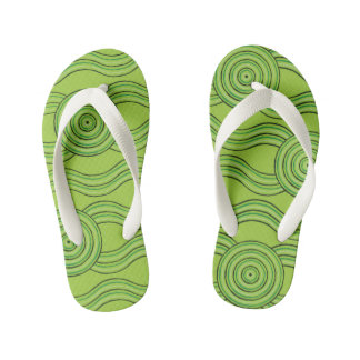 Aboriginal art rainforest kid's flip flops