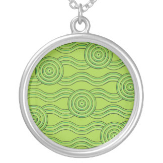 Aboriginal art rainforest silver plated necklace