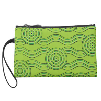 Aboriginal art rainforest suede wristlet