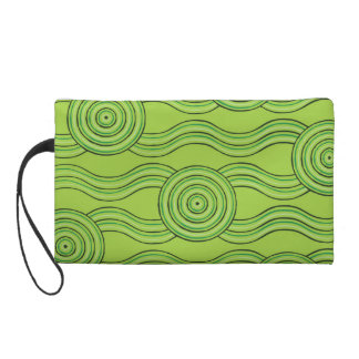 Aboriginal art rainforest wristlet clutch