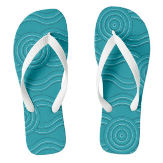 Aboriginal art reef flip flops