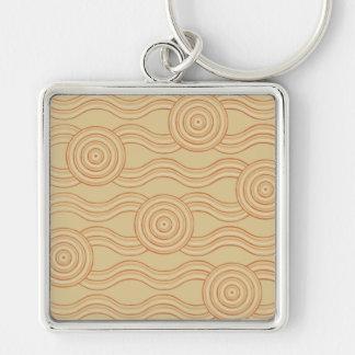Aboriginal art sandstone Silver-Colored square keychain