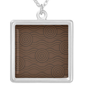 Aboriginal art soil silver plated necklace