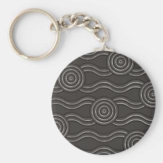 Aboriginal art storm basic round button keychain