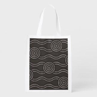 Aboriginal art storm reusable grocery bag
