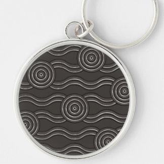 Aboriginal art storm Silver-Colored round keychain