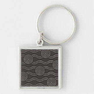 Aboriginal art storm Silver-Colored square keychain