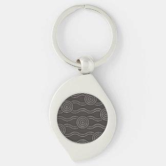 Aboriginal art storm Silver-Colored swirl keychain