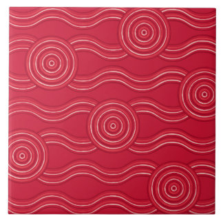 Aboriginal art waratah ceramic tile