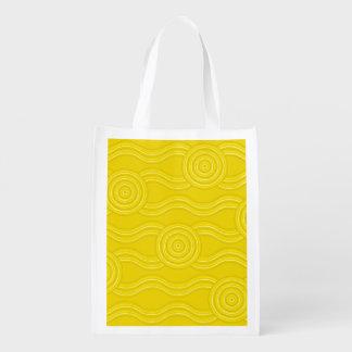Aboriginal art wattle reusable grocery bag