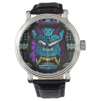 Aboriginal Aztec Inca Mayan Mask Mozaic Glass Watch