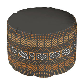 Aboriginal Design Sturdy Spun Polyester Round Pouf
