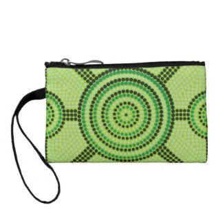 Aboriginal dot painting change purse