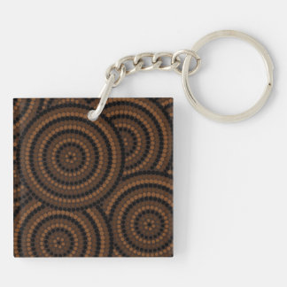 Aboriginal dot painting Double-Sided square acrylic keychain