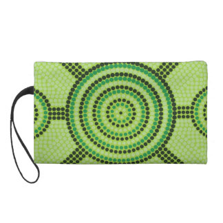 Aboriginal dot painting wristlet clutch