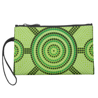 Aboriginal dot painting wristlet purse