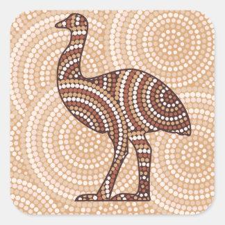 Aboriginal emu dot painting square sticker