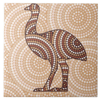 Aboriginal emu dot painting tile