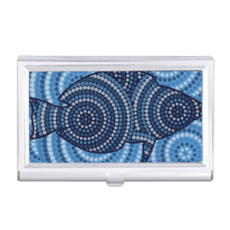 Aboriginal fish dot painting business card holder