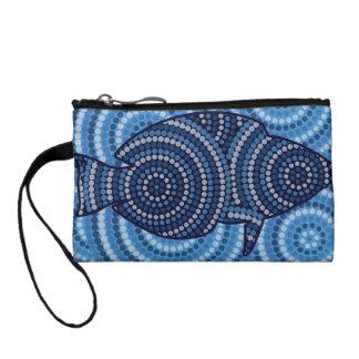 Aboriginal fish dot painting coin wallets