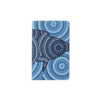 Aboriginal fish dot painting pocket moleskine notebook