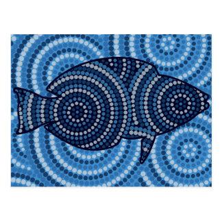 Aboriginal fish dot painting postcard