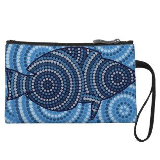 Aboriginal fish dot painting wristlet purse