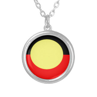 aboriginal-Flag Silver Plated Necklace