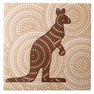Aboriginal kangaroo dot painting ceramic tile