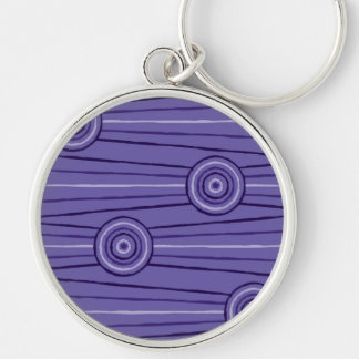 Aboriginal line and circle painting Silver-Colored round keychain
