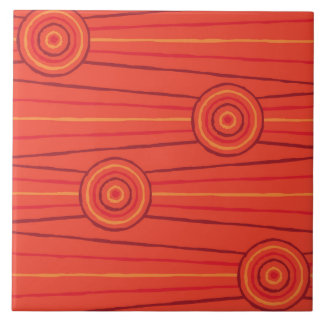 Aboriginal line and circle painting tile