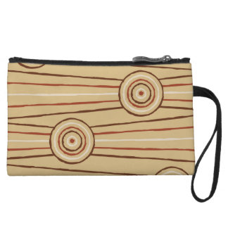 Aboriginal line and circle painting wristlet clutch