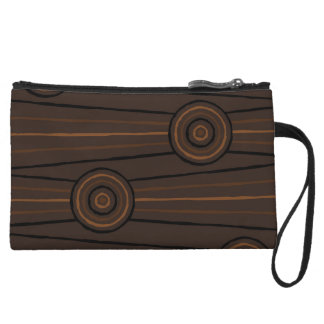 Aboriginal line and circle painting wristlet clutches