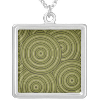 Aboriginal line painting silver plated necklace