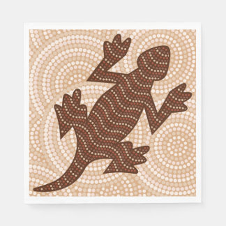 Aboriginal lizard dot painting disposable napkins
