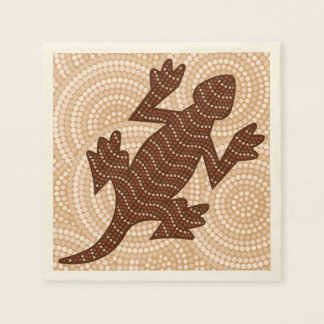 Aboriginal lizard dot painting paper napkin